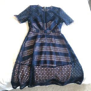 ASOS premium navy lace midi dress size 10
